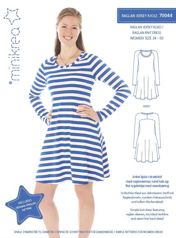 70044 Raglan Knit Dress Paper Pattern Minikrea