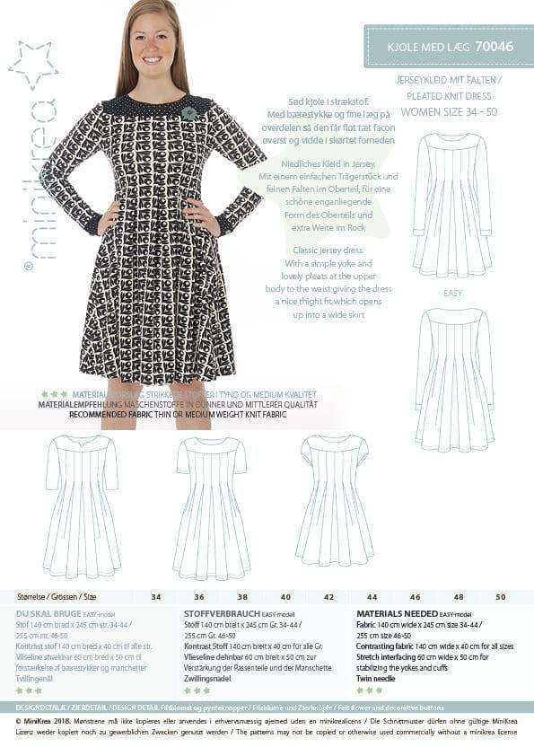 70046 Pleated Knit Dress Paper Pattern Minikrea