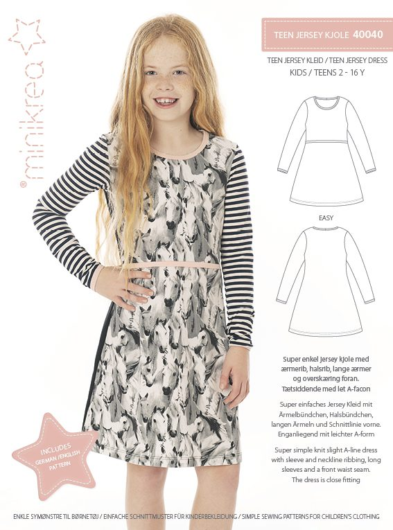 d48905b99ff 40040 Teen Jersey Dress - Paper Pattern | Minikrea