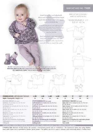 11420 Babysaet med sko, babybluse, babybukser, babysko - stylecard