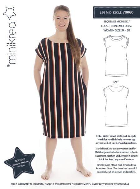 MiniKrea 70060 Loose-Fitting Midi Dress Sewing Pattern