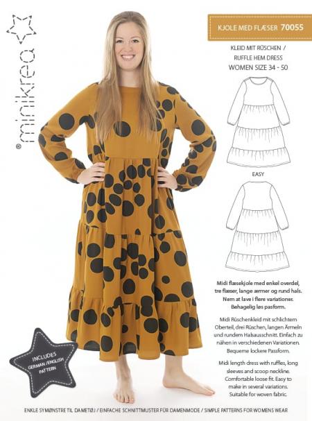 MiniKrea 70055 Ruffle Hem Dress Sewing Pattern