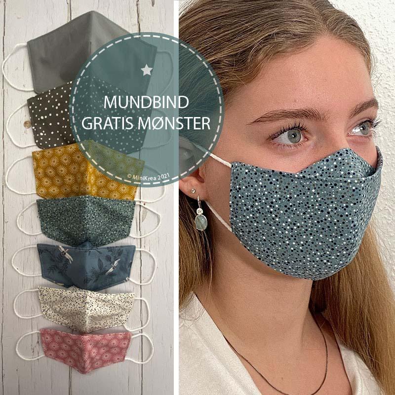 MiniKrea møenster til stof mundbind